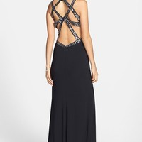 Hailey Logan Embellished Cutout Back Gown (Juniors)