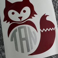 Monogram Fox Decal | Monogrammed Fox | Fox Decal | Car Decal | Fox Monogram | Glitter Decal | Car Decal | Cute Monogram | Fox | Decal