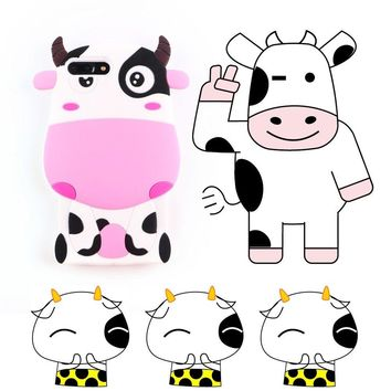 "Case for iPhone 7 ,Vivid Pink Cows Shaped Animal Fashion Design 3D Cute Cartoon Character Protective Skin Soft Rubber Silicone Case Back Cover for iPhone 7 (4.7"" Inch) (Pink Cows)"
