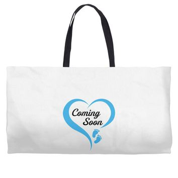 coming soon baby boy maternity design Weekender Totes