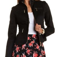 Shirred Twill Zip-Up Jacket by Charlotte Russe - Black