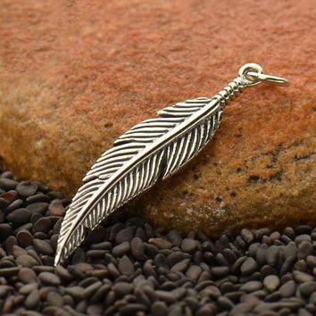 Sterling Silver Textured Feather Charm