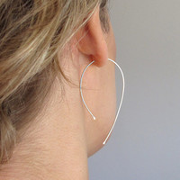 Gold Wishbone Earrings - Modern Open Hoop Earrings - Unique Jewelry - Open Teardrop Hoops - 2 inch Earrings - Fashion Jewelry - Delicate