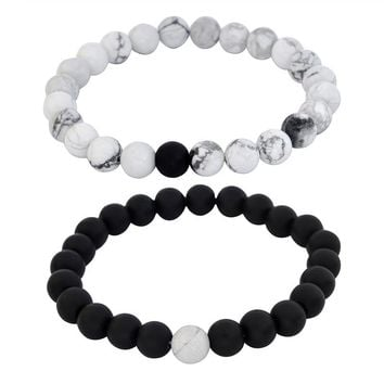 2Pcs/Lot Couples Distance Relationship Bracelet Natural Stone White and Black Beaded Bracelets for Men Women Best Friend Gift