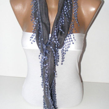 New pashmina fabric scarf with lace,Gray grey scarves,women scarves,gift ideas,for her,scarf trends,lace scarf