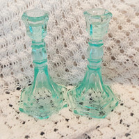 A Set of Aqua Blue Depression Glass Candle Sticks, Aqua Blue Depression Glass Candle Holders