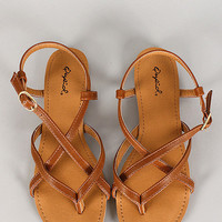 Qupid Boa Sandals Tan
