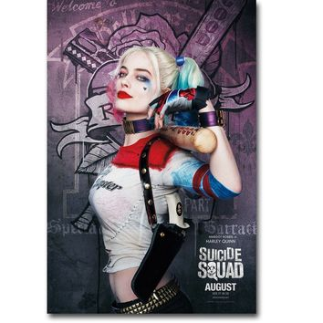 NICOLESHENTING Harley Quinn Suicide Squad Superheroes Art Silk Fabric Poster Print 13x20 24x36 inch Movie Picture Wall Decor 014