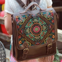 Leather bag / backpack bag with colorful embroidery. Available in different leather colors and embroidery pattern