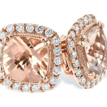 14K Rose Gold Cushion Cut Morganite and Diamond Halo Stud Earrings