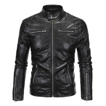 Trendy New Retro Motorcycle Jacket Mens PU Leather Slim Fit Thin Classic Biker Punk Motorbike Windproof Moto Jacket Coat Size M-5XL AT_94_13