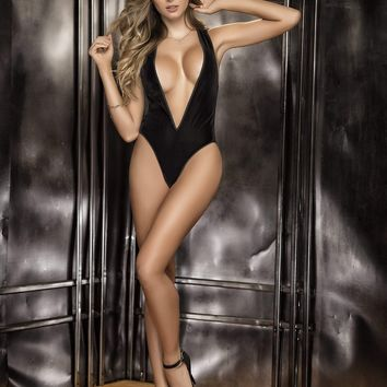 Mapale Black Bodysuit Teddy Velvet Front and Sheer Mesh Back