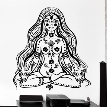 Art Buddha Chakra Meditation Girl Wall Sticker Vinyl Home Room Decorative Mantra Wall Mural Removable Art Wallpaper Y-807