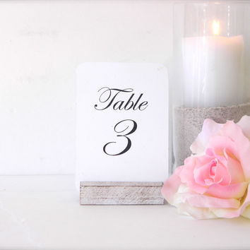 White Distressed Rustic Wood Table Card Holders