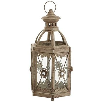 Gray Jeweled Hexagon Mini Lantern
