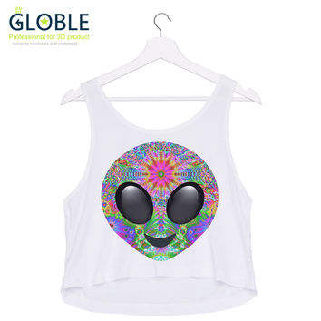 Women Tops Harajuku Sexy Sleeveless Girl's T- shirt Love Skull Printing Crop Tops  HT017