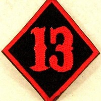 Small Patch 13 Diamond Red on black for Biker Vest SB823
