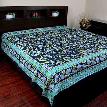 Handmade Cotton Floral Print Tapestry Tablecloth Coverlet Bedspread Twin Full Black Green