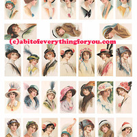 vintage flapper girls hat fashion domino collage sheet clipart digital download domino 1x2 inch domino graphics 1920s images printables