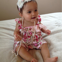 Romper and Headband Set - Floral Satin Romper - valentines outfit - Newborn Outfit - Baby Girl Outfit - Toddler