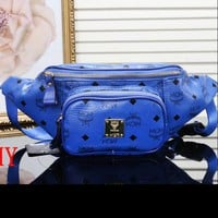 MCM Women Leather Purse Waist Bag Single-Shoulder Bag Crossbody Blue