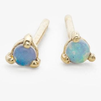 Wwake Small Opal Stud Earrings Gold
