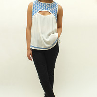 Cutout Embroidered Blouse