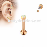 Rose Gold and White Opal  Flat Top Internally Threaded Surgical Steel Labret Stud for Lip, Chin, Ear Cartilage Piercings
