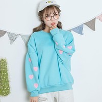 Harajuku Heart Puff Sleeve Fleece Hoodies 2017 korean hooded tracksuit women sweatshirt women spring kawaii patch love hoodies