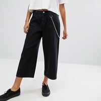 Daisy Street Wide Leg Skater Jeans With Chain at asos.com