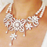 Crystal Pearl and Rhinestone Bridal Necklace by luxedeluxe on Etsy