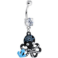 Double Clear Gem Black Odd Octopus Dangle Belly Ring | Body Candy Body Jewelry