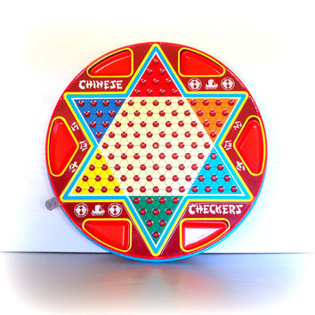 VINTAGE METAL GAME Board / Wall Hanging / Retro / Mid Century / Checkers / Chinese Checkers / Bright / Colorful / Toy / Collectible