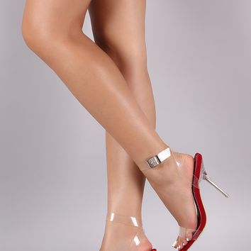 Transparent Open Toe Crisscross Ankle Strap Stiletto Heel