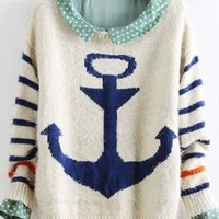 Striped navy wind sea anchor wool clothes from Topboutique