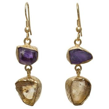 Gold-overlay Amethyst & Citrine Earrings