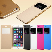 Flip Leather S View Window Clear Back Case Cover for Apple iPhone 6 4.7'' for iPhone 6 Plus 5.5