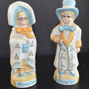Grandma Grandpa Bisque German Figurine Statues 1800s