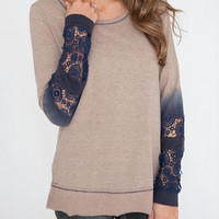 Coffee Lace Spliced Sleeve Sweatshirt