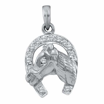 10kt White Gold Women's Round Diamond Lucky Horseshoe Charm Pendant 1-10 Cttw - FREE Shipping (US/CAN)