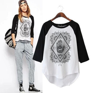 Women's Fashion Patchwork Alphabet Cotton Half-sleeve T-shirts Tops Casual Bottoming Shirt [5013382020]