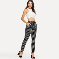 BLACK & WHITE SASSY STRIPE ANKLE PANTS