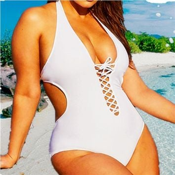 5Xl Plus Size Swimwear White Swimsuit 1 One Piece Bikini Onepiece Bathing Suits Black Deep V Women 2018 XXXL Big Rope String 4XL