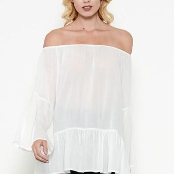 off the shoulder bell sleeve peasant top