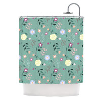 "Louise ""Flora"" Flowers Green Shower Curtain"