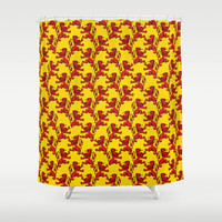Scottish Lions Pattern Shower Curtain by Blooming Vine Design