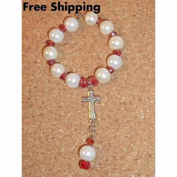 White Pearl Bead & Red Irridescent Swarovski Crystal  Car / Pocket Rosary