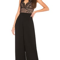 KENDALL + KYLIE Scallop Lace Jumpsuit in Black & Mocha   REVOLVE