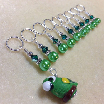 Green Parrot Stitch Markers, Snag Free Beaded Knitting Stitch Marker Set, Gift for Knitters, Tools, Supplies, Notions, Pattern Markers