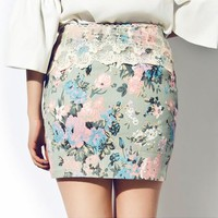 Floral Lace Mini Skirt